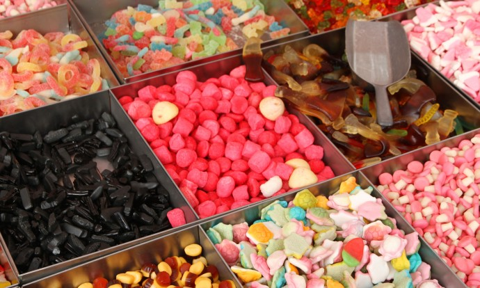 sweet candy and confectionery for sale at the market